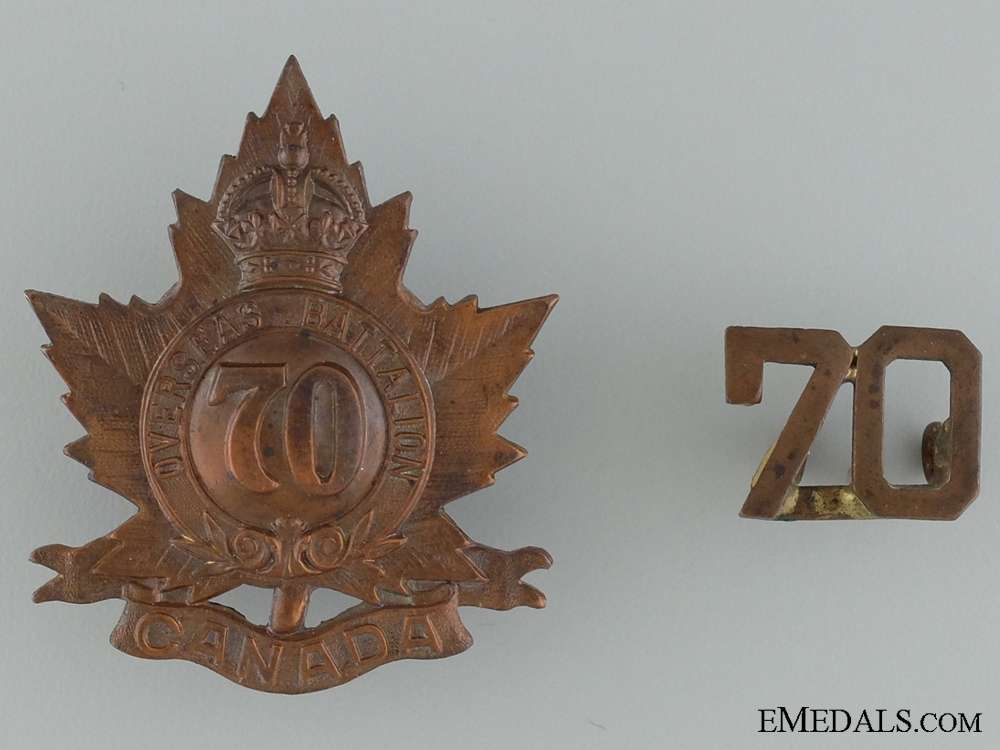 eMedals-WWI 70th Infantry Battalion Cap Badge and Collar Insignia