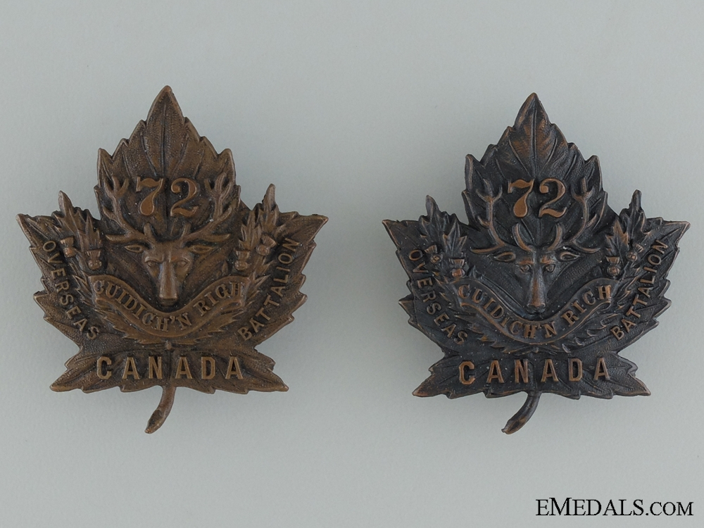 eMedals-WWI 72nd Infantry Battalion Collar Pair CEF