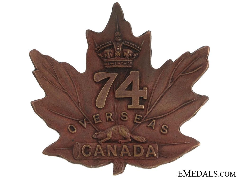 eMedals-WWI 74th Battalion Cap Badge CEF