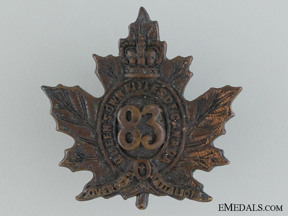 eMedals-WWI 83rd Infantry Battalion Collar Badge