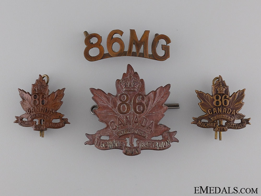 eMedals-WWI 86th Machine Gun Battalion Insignia Set CEF