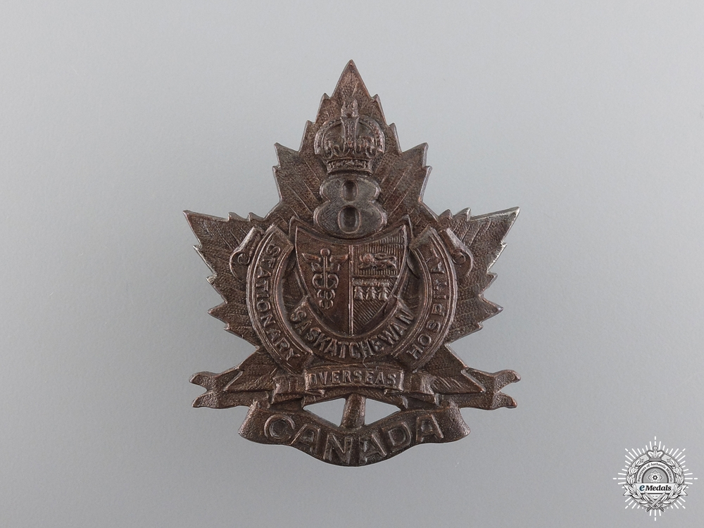 eMedals-WWI 8th Saskatchewan Overseas Canadian Stationary Hospital Cap Badge  consign 17