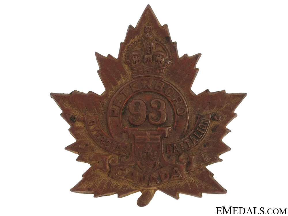 "eMedals-WWI 93rd Infantry Battalion ""Peterborough Battalion"" Cap Badge"