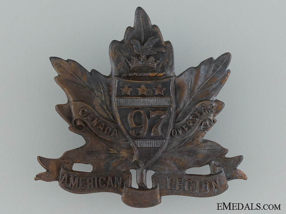 """eMedals-WWI 97th Infantry Battalion """"Toronto Americans"""" Cap Badge"""
