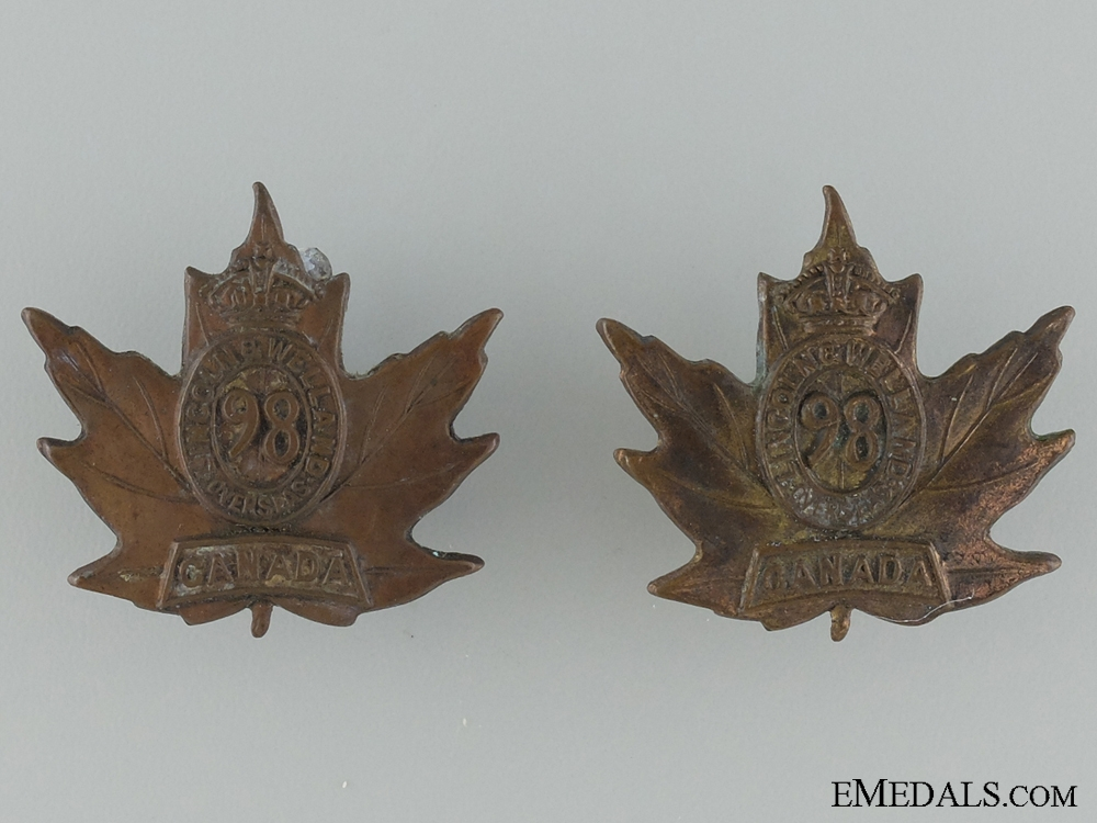 eMedals-WWI 98th Infantry Battalion Collar Pair CEF