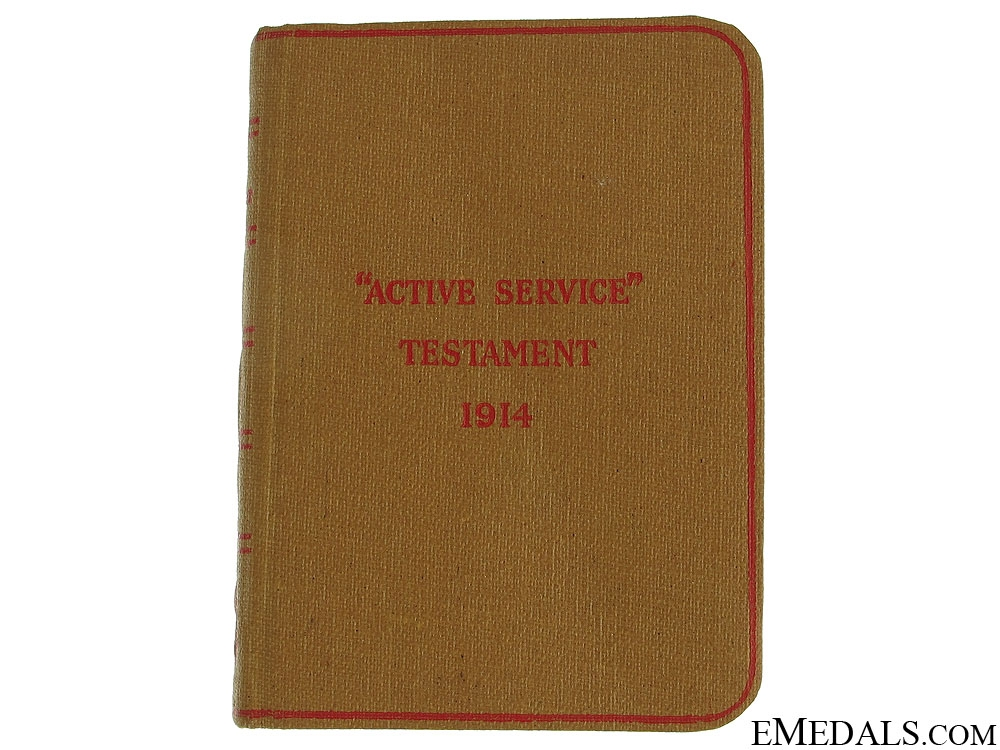 "eMedals-WWI ""Active Service"" New Testament 1914"