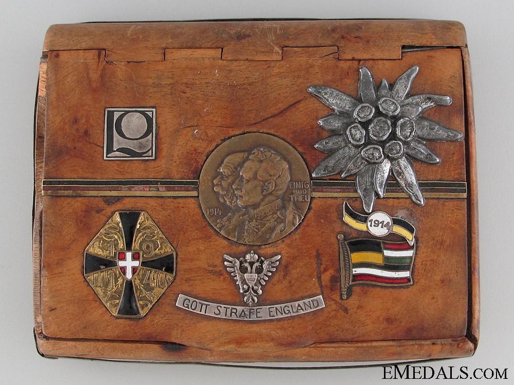 eMedals-WWI Austrian Veteran's Wooden Cigarette Case