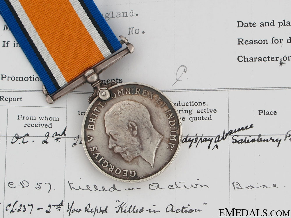 eMedals-WWI British War Medal - Gas Attack KIA