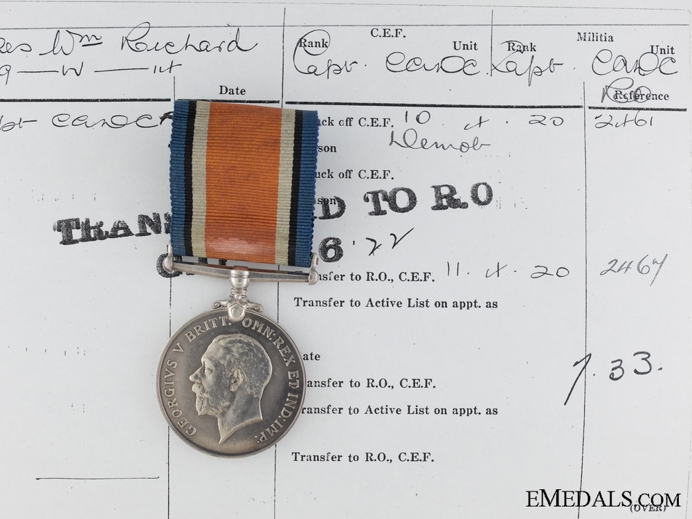 eMedals-WWI British War Medal to Captain Wilkes; Canadian Army Dental Corps