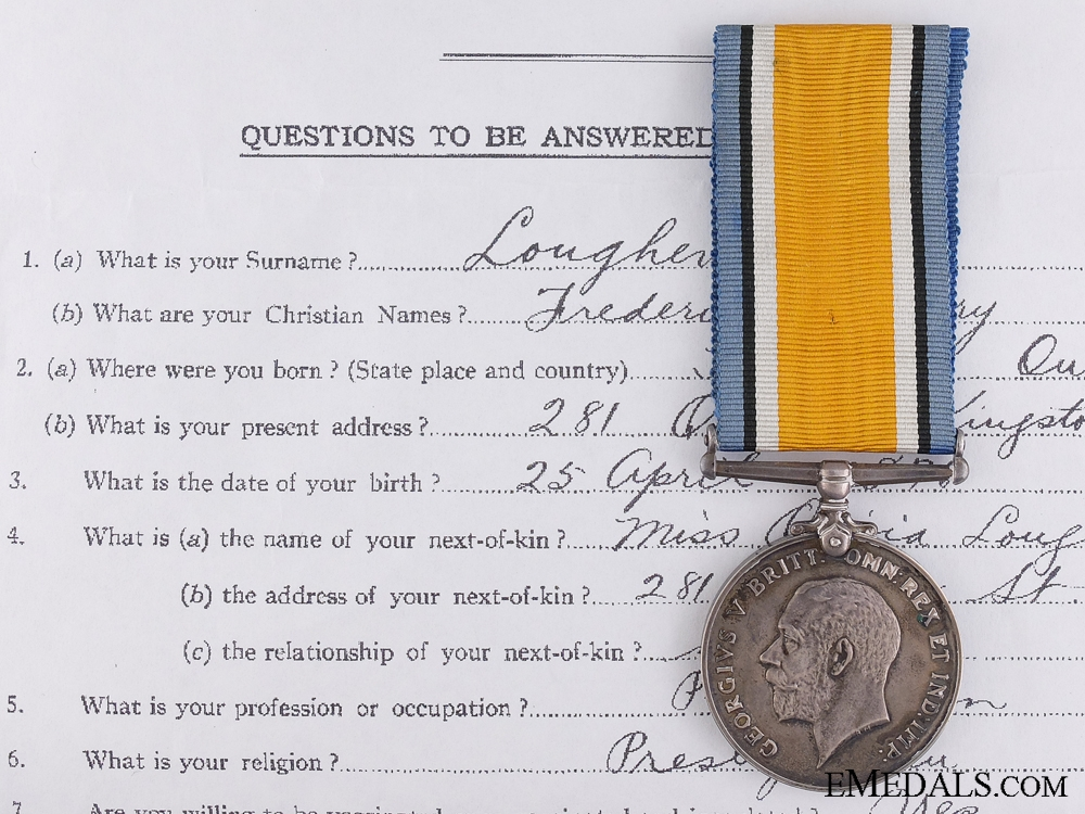 eMedals-Canada. A British War Medal to Captain Lougher; C.A.M.C.