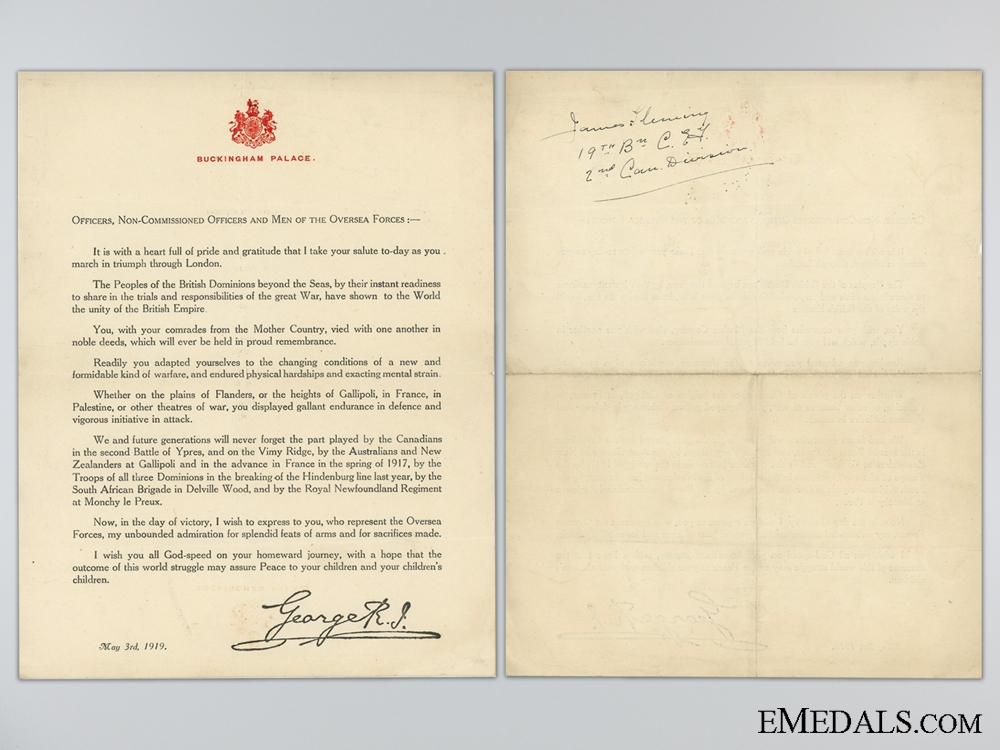 eMedals-WWI Buckingham Palace Victory Thank You Letter; 19th CEF