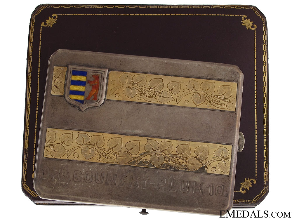 eMedals-WWI Czech 10th Dragoons Presentation Cigarette Case