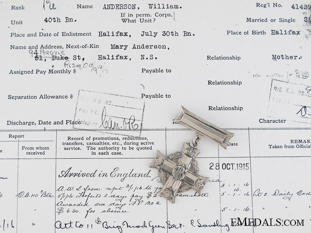 eMedals-WWI Memorial Cross to the 1st Cdn Machine Gun Co.