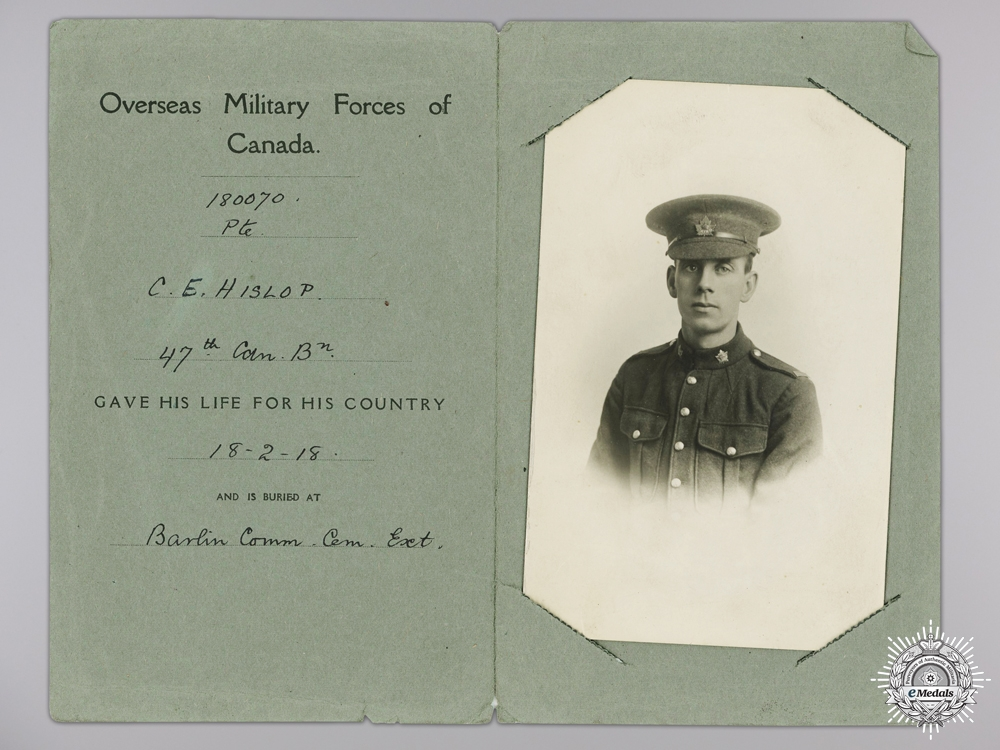 eMedals-WWI Memorial Photograph of Private Charles E. Hislop; 88th CEF