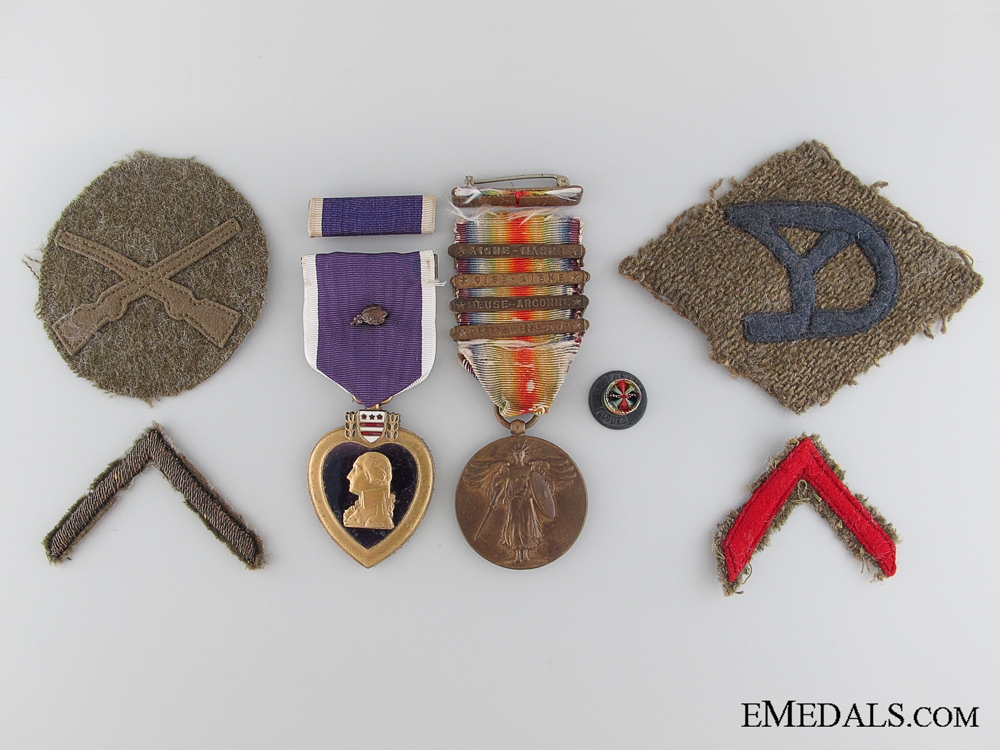 eMedals-WWI Pair Purple Heart Pair to the 102nd Infantry