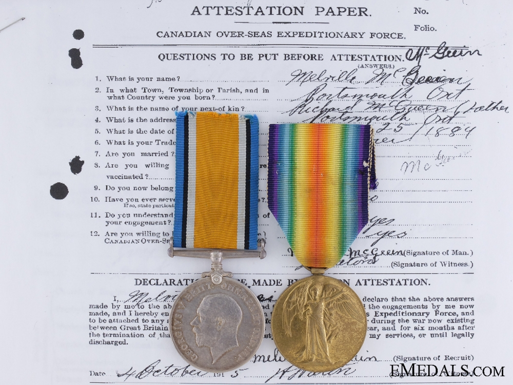 eMedals-WWI Pair to Private Melville McGeein, Canadian Machine Gun Brigade