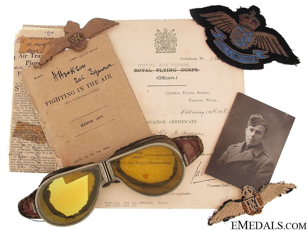 eMedals-WWI Royal Flying Corps Group to Lieutenant H. Hickson, 206 Squadron
