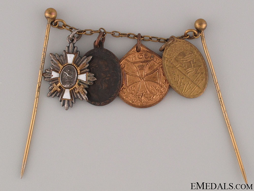 eMedals-WWI Veteran's Four Miniature Medals on Chain