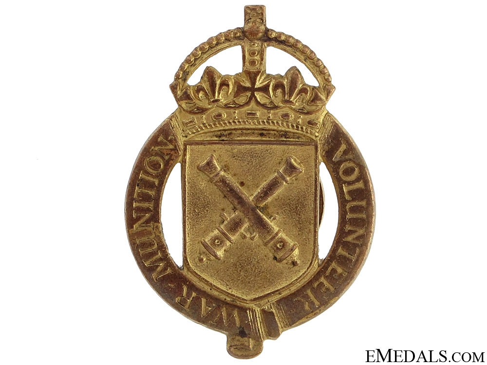eMedals-WWI War Munition Volunteer Badge, 1916-1918