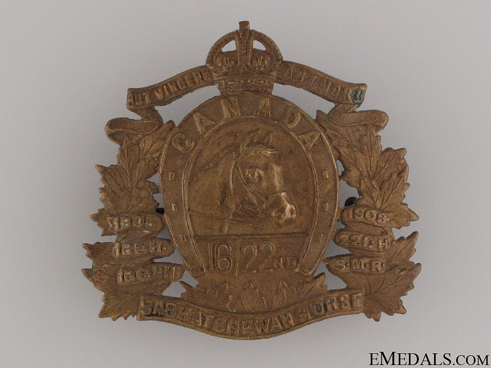 eMedals-WWII 16th/22nd Saskatchewan Horse Cap Badge