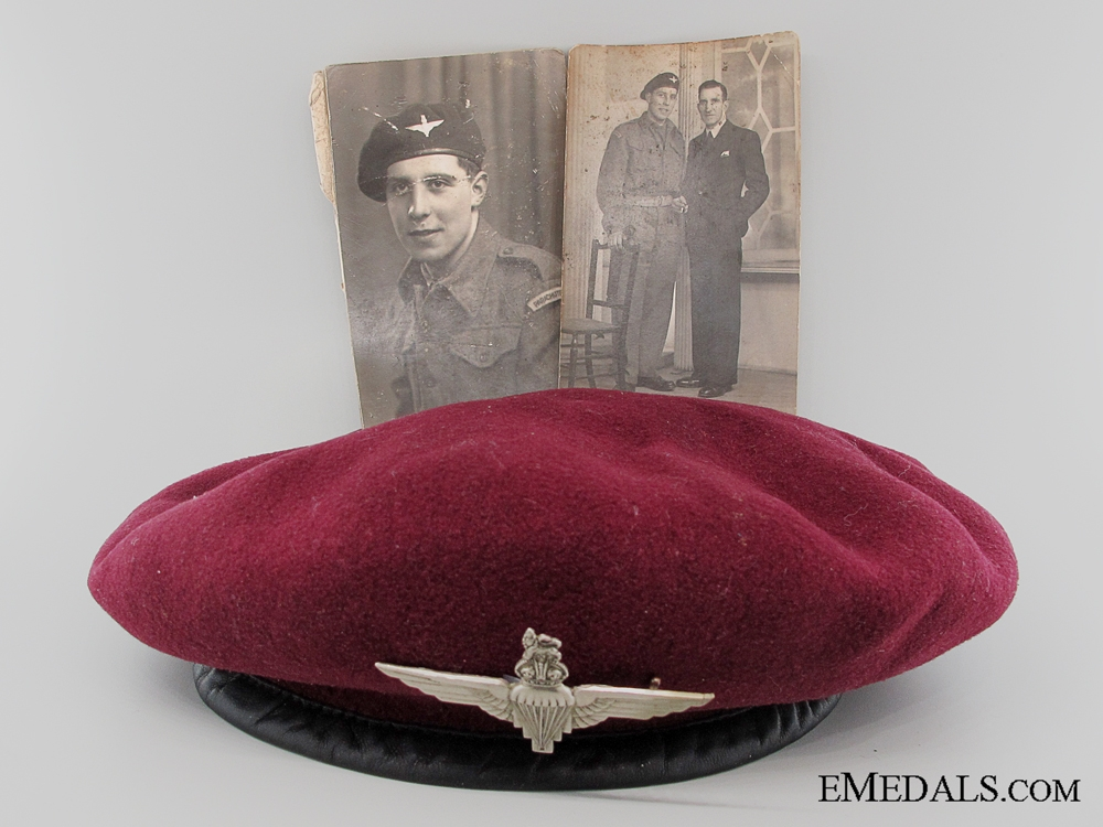 eMedals-WWII 1944 British Parachute Regiment Beret with Photographs