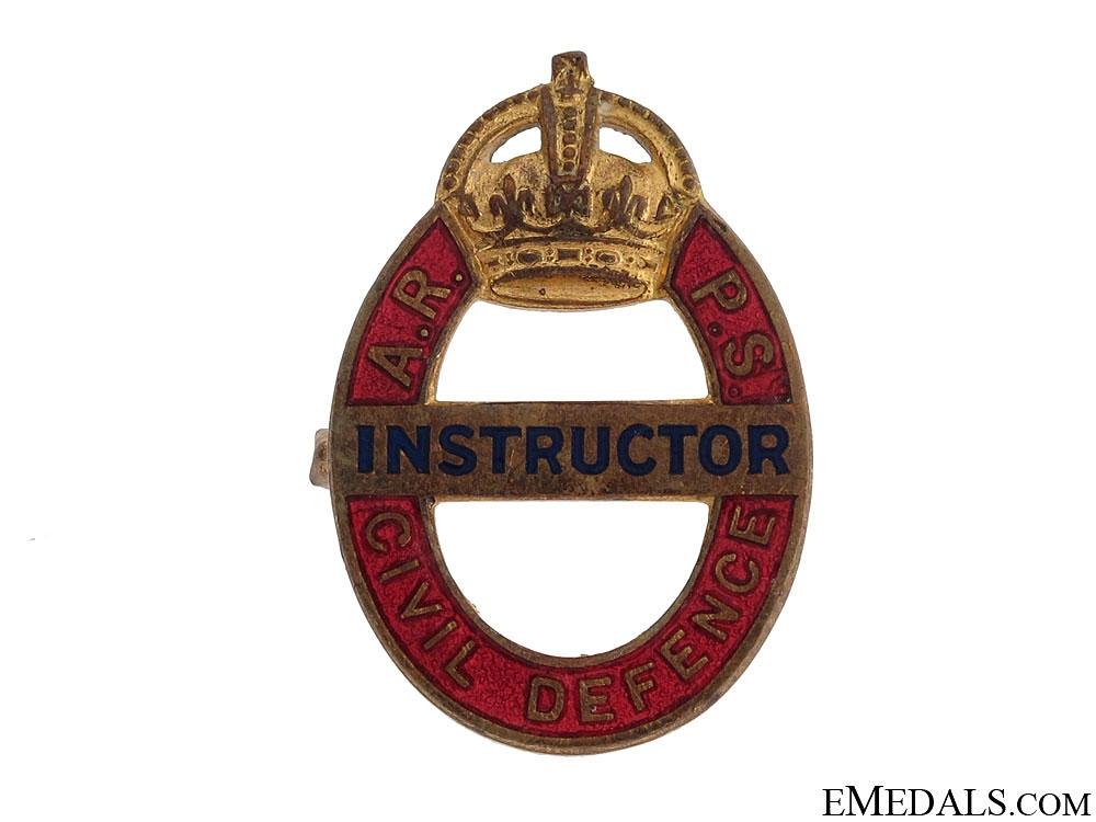 eMedals-WWII Air Raid Precautions School Civil Defence Instructor Badge