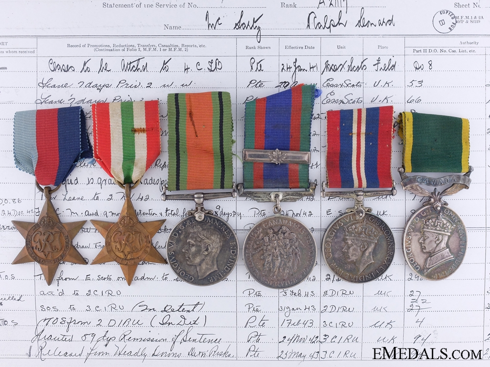 eMedals-WWII Group of Six, Private R.L. McLarty, Essex Scottish Regiment, Royal Canadian Regiment
