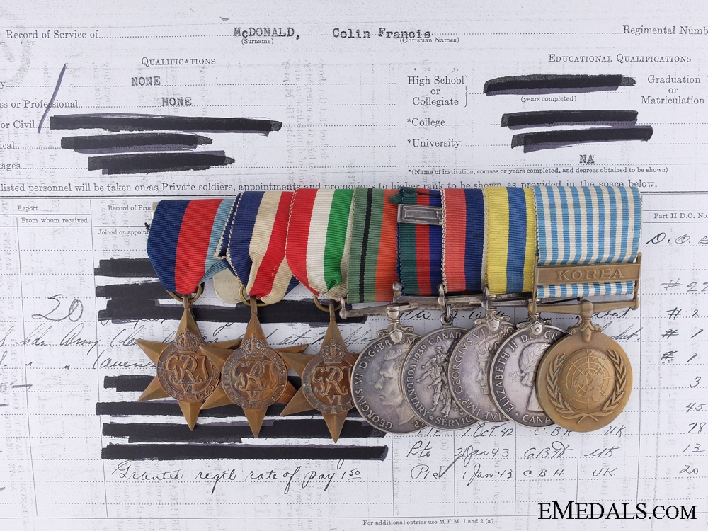 eMedals-WWII/Korean War Group of Eight, Private/Gunner Colin F. McDonald, Royal Canadian Artillery, Royal Canadian Horse Artillery
