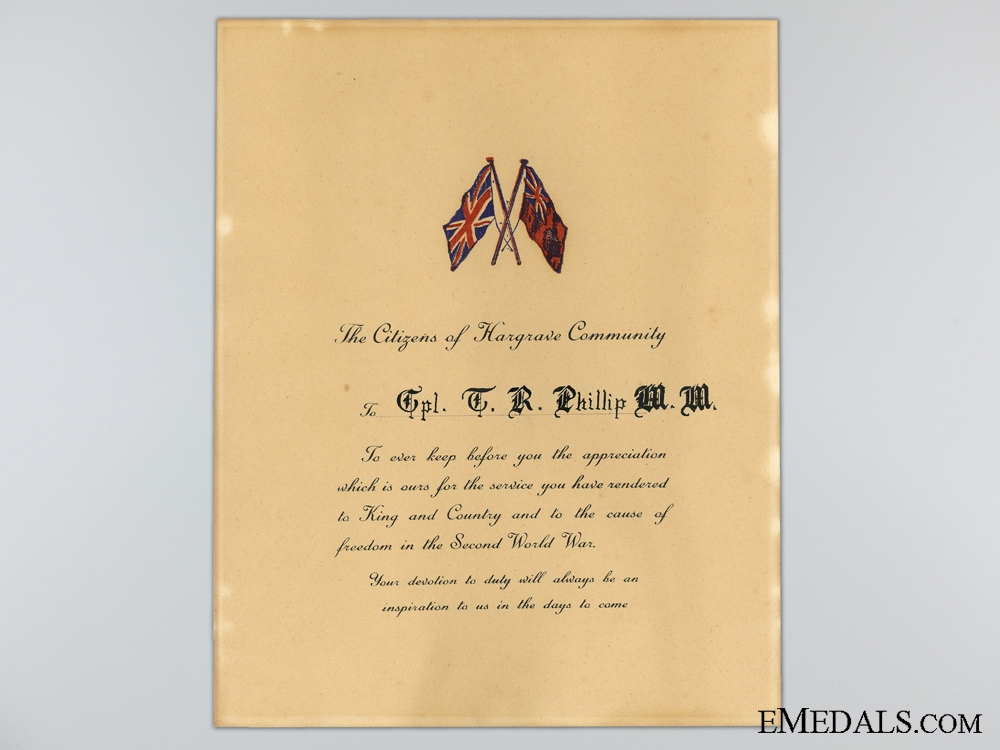 eMedals-WWII Manitoba Community Appreciation Document to WWI MM Recipient