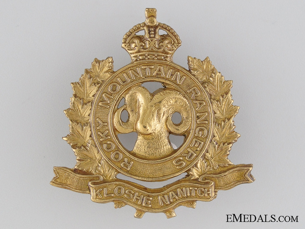 eMedals-WWII Rocky Mountain Rangers Cap Badge