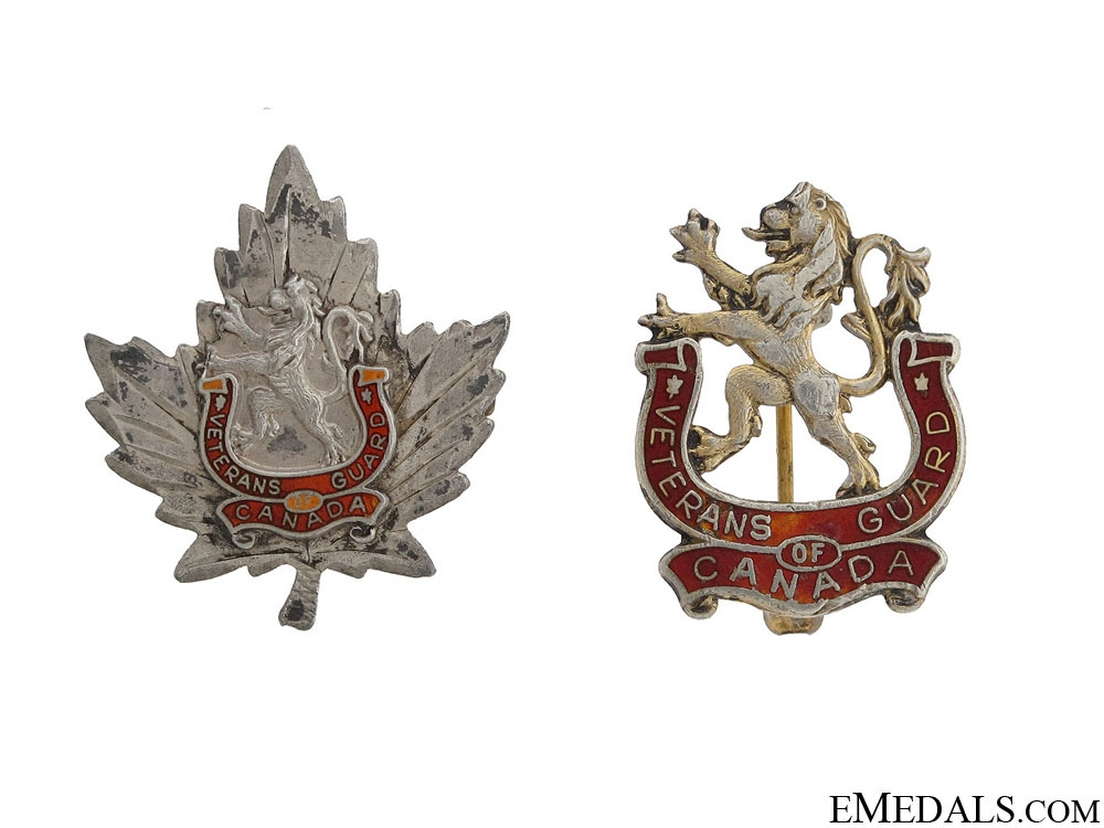 eMedals-WWII Two Veterans Guard of Canada Pins by Birks
