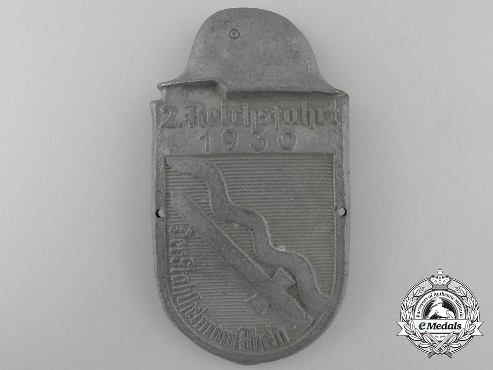 eMedals-Germany, Weimar Republic. A 1930 2.Reichsfahrt Der Stahlhelm Rhein Veteran's Badge