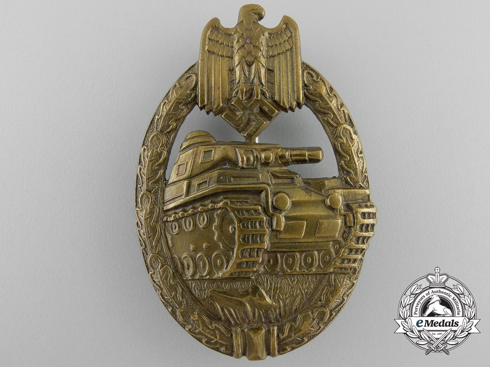eMedals-An Early Bronze Grade Tank Badge in Tombac
