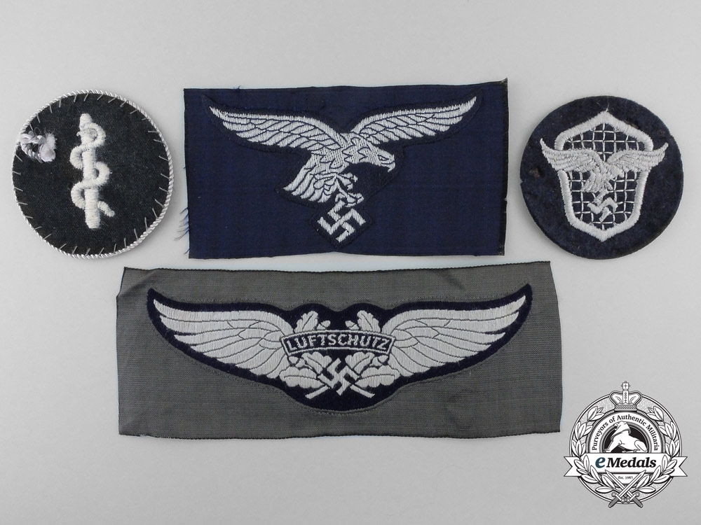eMedals-Germany. Four Second War Luftwaffe Cloth Insignia