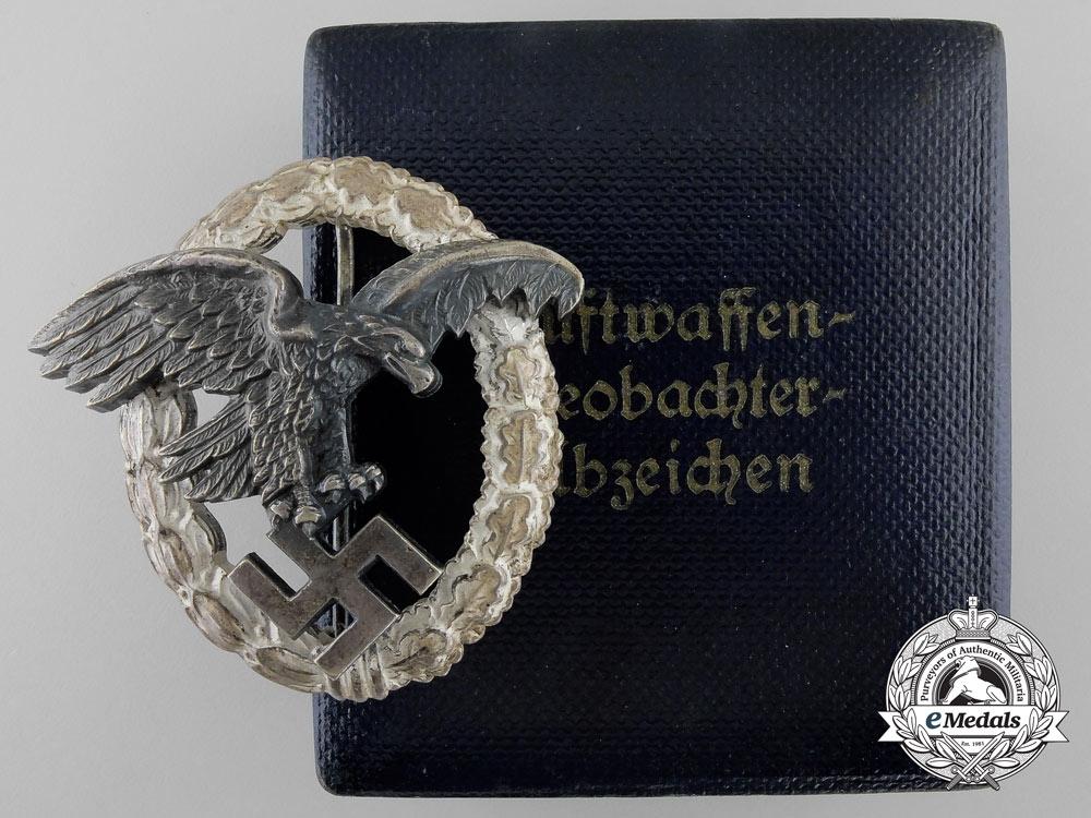 eMedals-An Early Cased Luftwaffe Observers Badge by Assmann