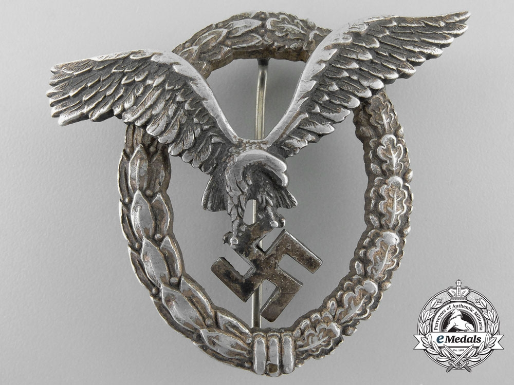 eMedals-Germany. An Early Luftwaffe Pilot's Badge in Aluminum by Assmann