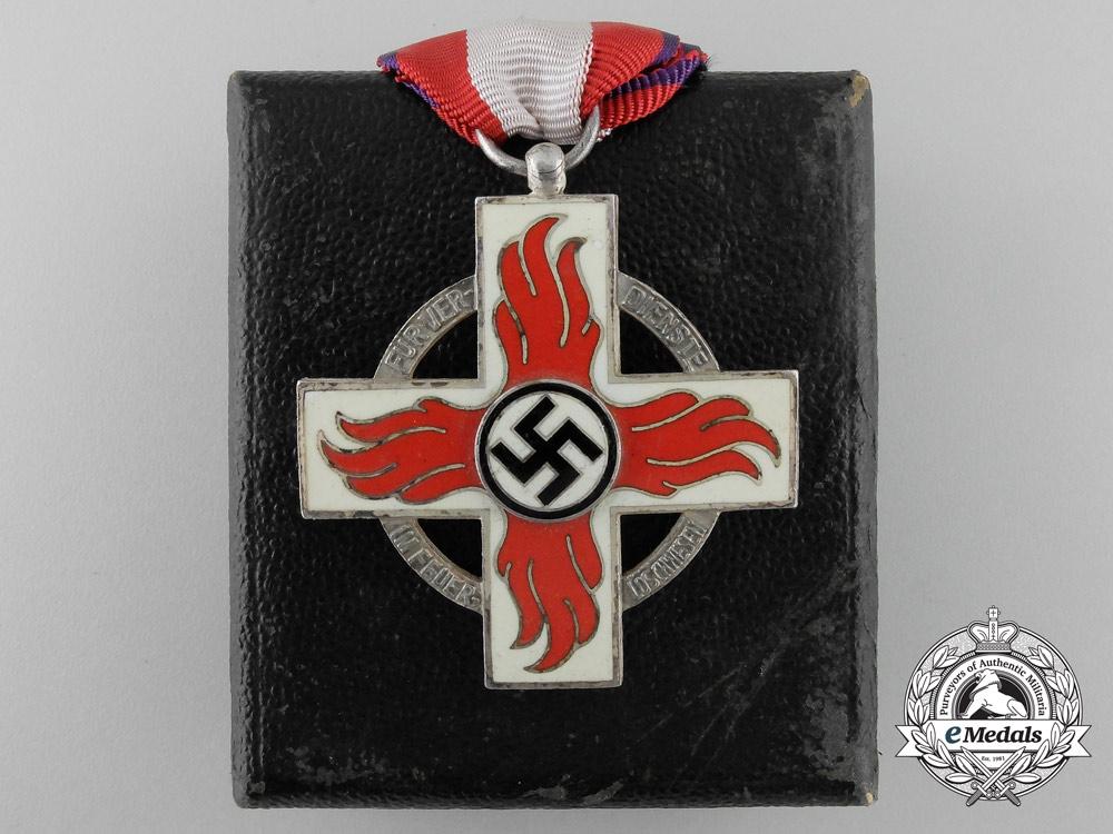 eMedals-A German Fire Brigade Cross with Case; 2nd Class