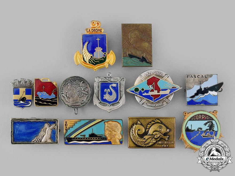 France, Republic. A Lot of Twelve Naval Insignia Badges