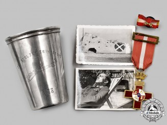 Germany, Luftwaffe. A Condor Legion Cased Commemorative Silver Cup, with Awards and Photos
