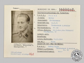 Germany, SS. A HIAG Tracing Service File for SS-Sturmmann for Walter Gerth