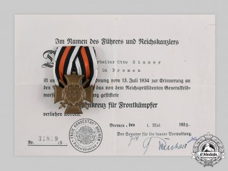 Germany, Third Reich. An Honour Cross of the World War 1914/1918, with Award Document to Otto Sinner, c. 1935