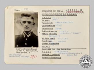 Germany, SS. A HIAG Tracing Service File for SS-Oberscharführer Franz Wappler