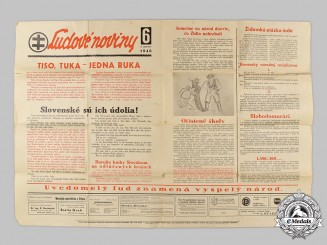 Slovakia, I Republic. A People's News Propaganda Poster 1940