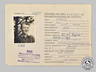 Germany, SS. A HIAG Tracing Service File for SS-Sturmmann Kurt Scheffler