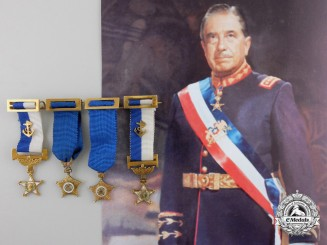 Chile. Four Gold Miniature Awards from the Estate of General Pinochet