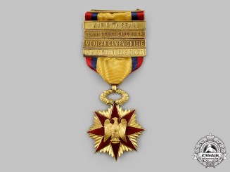 United States. A Gold Military Order of Foreign Wars (MOFW) Membership Badge with Bars
