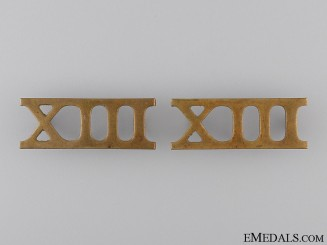 13th Regiment Shoulder Title Pair; c. 1909