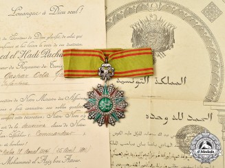 Tunisia, French Protectorate. An Order of Nichan-Iftikhar, II Class Commander, to Commander Gaspar Orta Gonzales