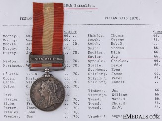 A Canada General Service Medal to the 18th Battalion