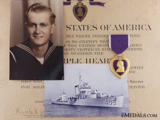 A 1943 Purple Heart to Fireman Welch; U.S.S Rowan Sinking